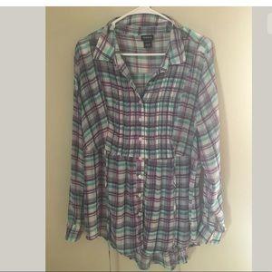 Torrid plaid sheer shirt, NWOT